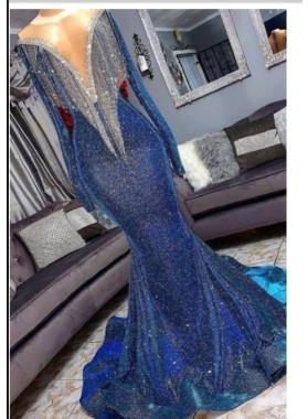 2020 Sexy Long Sleeve Mermaid V Neck Royal Blue Long Prom Dresses