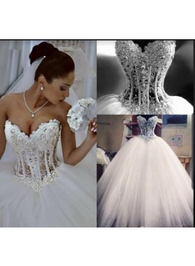 2021 Charming Ball Gown Ivory Tulle Sweetheart Spaghetti Straps Floor Length Wedding Dresses