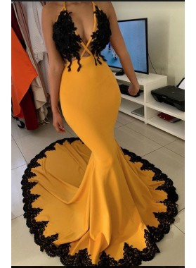 2021 Mermaid Orange V-neck Sleeveless Zipper Sweep Train Prom Dresses