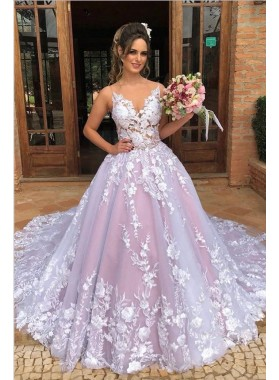 2021 Glamorous Dusty Rose Ball Gown V Neck Sleeveless Lace Prom Dresses