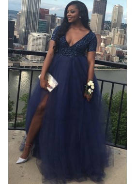 Royal Blue Tulle High Waist Short Sleeves Sequence Side Slit Plus Size V Neck Prom Dresses