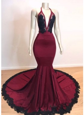 Sexy Mermaid V Neck Backless Burgundy And Black Long Prom Dress 2021