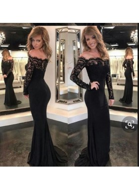 2021 Off the Shoulder Balck Prom Dresses