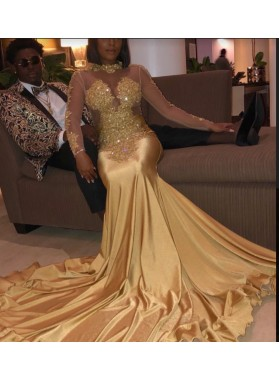 New Arrival Gold Long Sleeves Satin Prom Dresses 2020