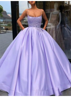 2021 Charming Ball Gown Applique Lilac Prom Dresses