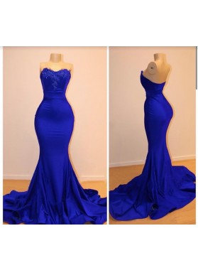 Charming Royal Blue Mermaid Long Prom Dresses 2020