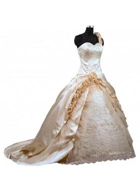 A Line Sweetheart Champagne Satin Long Wedding Dresses