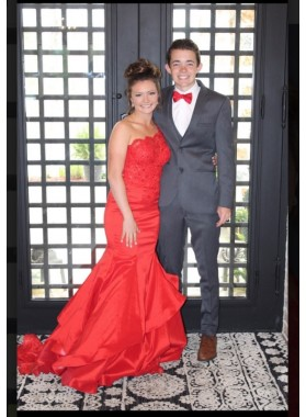 One Shoulder Red Mermaid Satin Prom Dresses