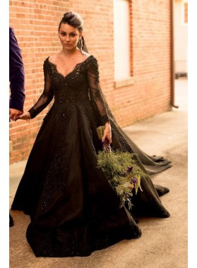 Long Sleeves V-neck Off the Shoulder Black Wedding Dresses