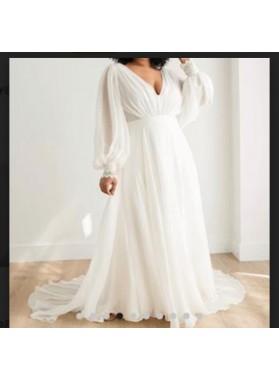 Long Sleeves A Line Chiffon V-neck Beach Wedding Dresses
