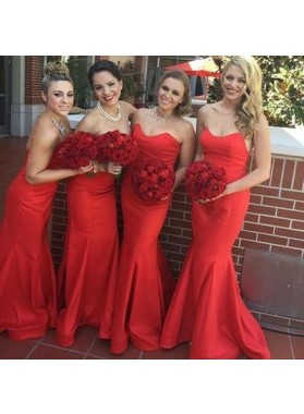 2021 Sexy Mermaid Red Sweetheart Satin Bridesmaid Dresses