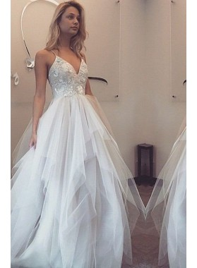 2019 Unique White Spaghetti Straps Natural Floor-Length/Long A-Line/Princess Tulle Prom Dresses