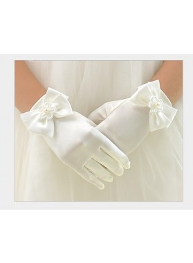 White Butterfly First Communion Girl's Short Gloves Princess Gloves Flower Girl Gloves