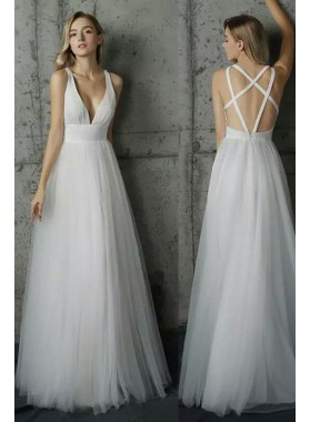 Princess/A-Line White Sweetheart Tulle Prom Dresses