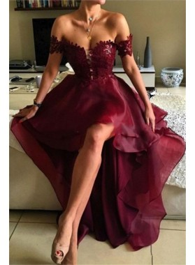 2021 Unique Burgundy Off the Shoulder High Low Lace Prom Dresses