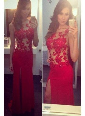 2019 Gorgeous Red Round Neck Sleeveless Beading Split Front Column/Sheath Prom Dresses