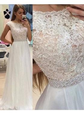 2019 Unique White Beading Appliques A-Line/Princess Chiffon Prom Dresses