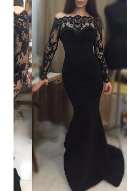2019 Junoesque Black Lace Long Sleeve Scalloped Neck Mermaid/Trumpet Prom Dresses