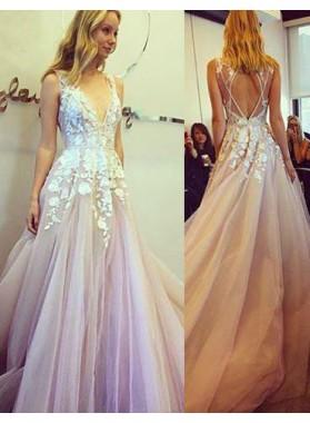 Appliques V-Neck A-Line/Princess Tulle Prom Dresses Lilac
