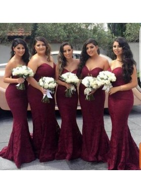 Alluring Mermaid Lace Burgundy Sweetheart Bridesmaid Dresses