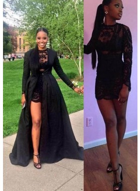 2019 Junoesque Black Lace Crew Neck A-Line/Princess Satin Prom Dresses
