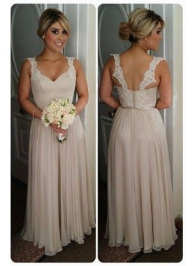 2020 New Arrival Champagne A Line Chiffon Floor Length Bridesmaid Dresses / Gowns