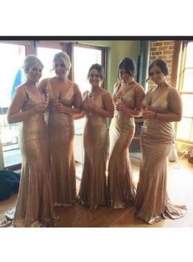 Charming Sequence V Neck Sweep Train Sheath Bridesmaid Dresses