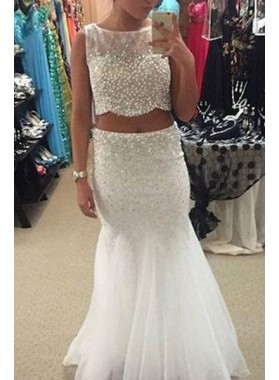 2019 Unique White Mermaid/Trumpet Beading Two Pieces Tulle Prom Dresses