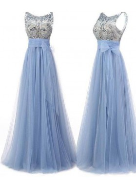 LadyPromDress 2019 Blue Crystal Bow A-Line/Princess Tulle Prom Dresses