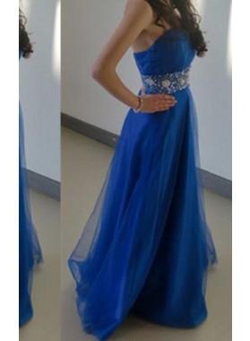 Royal Blue Strapless Floor-Length/Long A-Line/Princess Tulle Prom Dresses