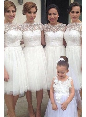2021 New Arrival A Line Tulle White Short Bridesmaid Dresses / Gowns