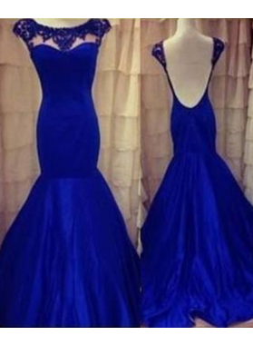 LadyPromDress 2018 Blue Beading Backless Mermaid/Trumpet Taffeta Prom Dresses