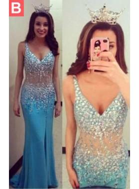 LadyPromDress 2019 Blue Beading Straps Satin Prom Dresses