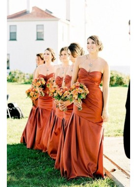 2019 Cheap Tight Satin Orange Sweetheart Ruffles Long Bridesmaid Dresses / Gowns