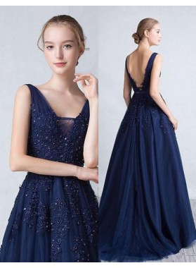 Navy Blue V-Neck Sleeveless Backless Appliques A-Line/Princess Tulle Prom Dresses