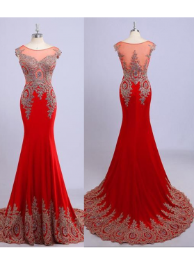 2019 Gorgeous Red Illusion Appliques Mermaid/Trumpet Chiffon Prom Dresses