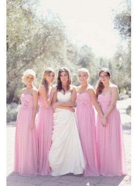 2021 Cheap A Line Chiffon Pink Strapless Ruffles With Flower Long Bridesmaid Dresses / Gowns