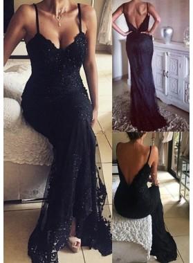 2019 Junoesque Black Spaghetti Straps Appliques Backless Column/Sheath Prom Dresses