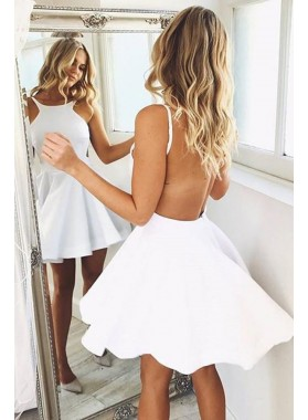 Cute Satin Backless White Short Prom Dresses