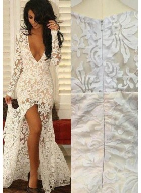 2019 Unique White V-Neck High-Slit Lace Prom Dresses