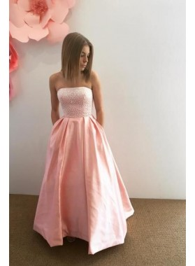 Simple Princess/A-Line Satin Pink Strapless Beaded Prom Dresses