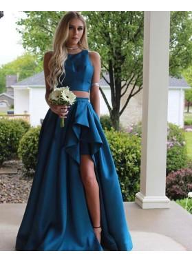 Designer Princess/A-Line Two Pieces Satin Prom Dresses