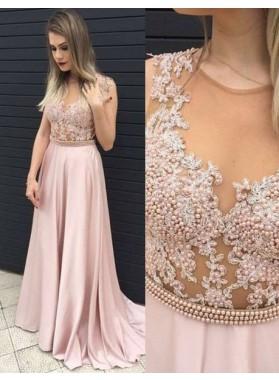 Pearls Appliques A-Line/Princess Prom Dresses
