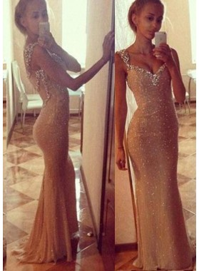 Beading Straps Column/Sheath Chiffon Prom Dresses