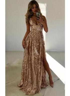 V-neck A-line Champagne Prom Dresses