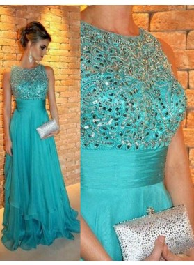 Beading A-Line/Princess Chiffon Prom Dresses LadyPromDress 2019 Blue