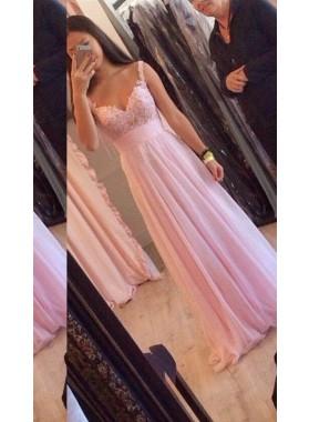 Straps A-Line/Princess Chiffon 2018 Glamorous Pink Prom Dresses