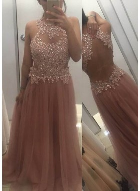 Beading Appliques Halter Open Back A-Line/Princess Tulle Champagne Prom Dresses