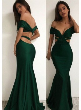 Sexy Off-the-Shoulder Trumpet Satin Prom Dresses
