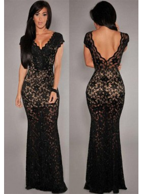 2019 Junoesque Black Bodycon Sexy Floor-Length/Long Lace Prom Dresses